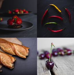Madfotografering madbilleder jordbærkage chilli flutes kirsebær