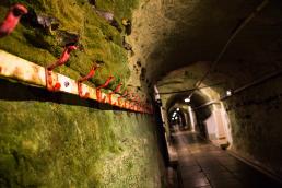 Stevnsfortet på gangen hænger en rød rusten knagerække