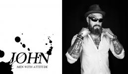 Portræt foto af Johnny i sort hvid. Men with attitude af Vibeke Johansson