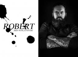 Portræt foto af Robert i sort hvid tattoveringe langt skæg. Men with attitude af Vibeke Johansson