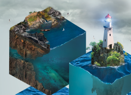 Vand kube med land og fyrtårn
