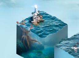 Vandboks med blæksprutte og fyrtårn