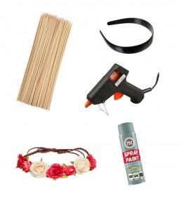 Træpinde, hårbøjle, limpistol, hårpynt blomster og en spray