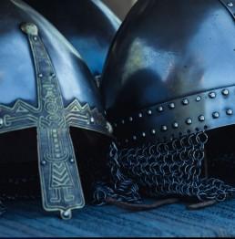 viking hjælme i metal 2 stk.