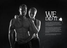 Ungt par som træner fitness portræt i sort hvid