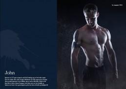 Unge mand med bar overkrop som træner fitness