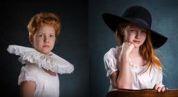 2 piger portræt med pibekrage og stor sort hat