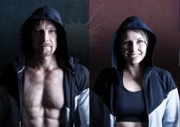 Unger par portræt med hættetrøjer og hætte på før træning
