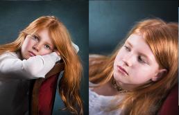 Smuk rødhåret pige portræt som sidder i en stol