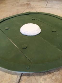 Vikingeskjold lavet med liggeunderlag